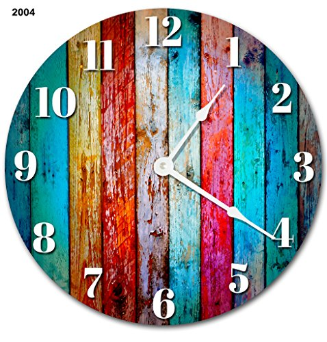 Cheap Sugar Vine Art Large 10.5″ Wall Clock Decorative Round Wall Clock Home Decor Novelty Clock WORN COLORED WOOD BOARDS RUSTIC CLOCK
