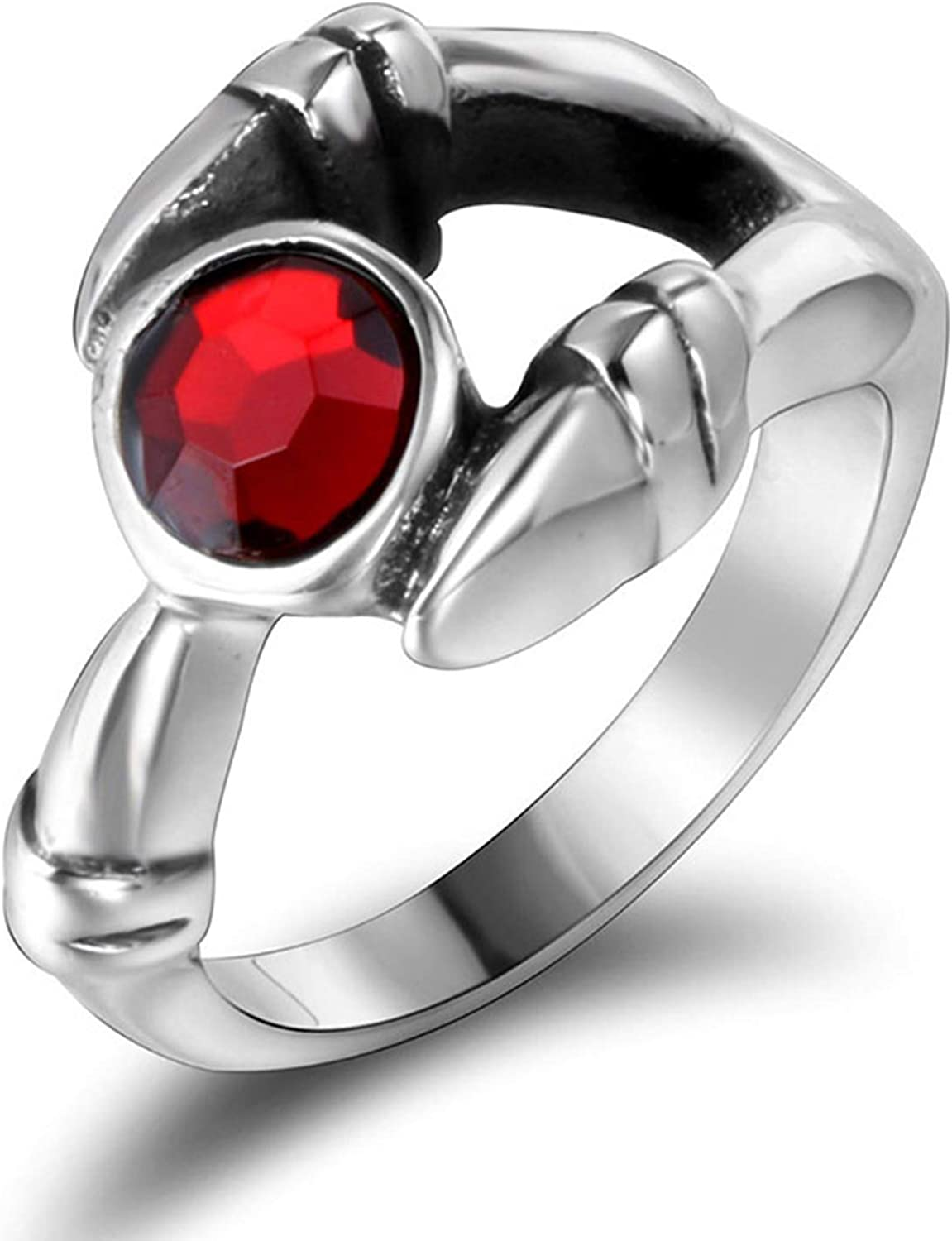 NA Stainless Steel Ring Women Claw Silver Red Ring Size 7-11