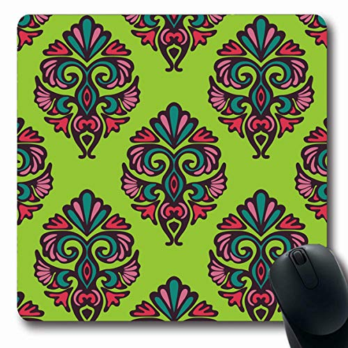 LifeCO Mouse Pad Revival Blue Baroque Green Floral Damask Pattern Abstract Ornamental Vintage Pink Color Damascus Oblong Shape 7.9 x 9.5 Inches Mousepad for Notebook Computer Mat Non-Slip Rubber