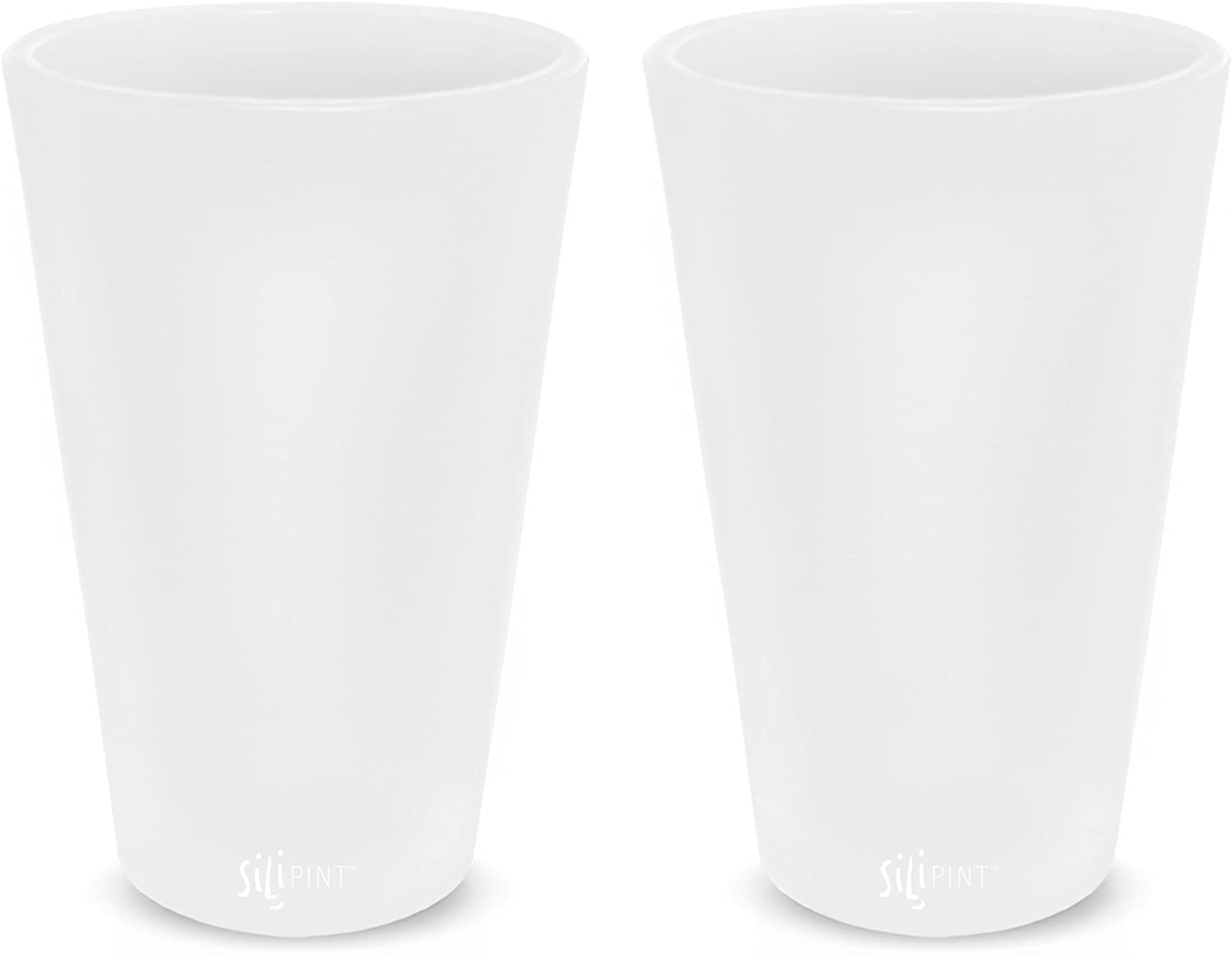 Silipint Silicone Pint Glass, Patented, Shatter-proof, Unbreakable Silicone Cup Drinkware (2-Pack, Frosted White)