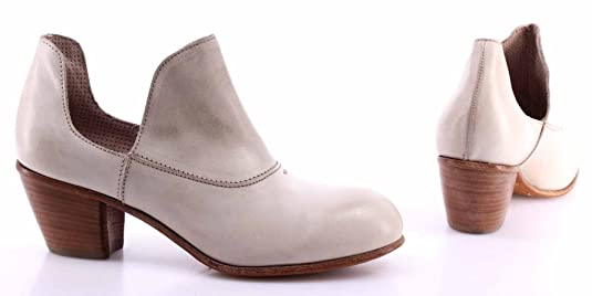 MOMA Damen Pumps Schuhe 44503 1H Albino Leder Weiß Vintage Made In Italy