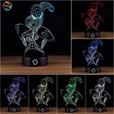 3D Optical Illusion Night Light - 7 LED Color Changing Lamp - Cool Soft Light Safe For Kids - Solution For Nightmares - Marvel Comics Avengers Spiderman