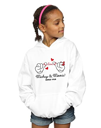 205e6827bce92 Disney Fille Mickey Mouse Love Hands Sweat À Capuche Blanc 5-6 Years