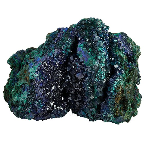 mookaitedecor Natural Blue Azurite Mineral Crystal Geode Cluster Specimen Stone for Crystals Healing Reiki Home Decoration(0.2lb-0.4lb)