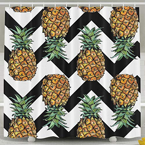Huangwei Pineapple Zigzag Pattern Shower Curtain Water-Repellent Polyester Fabric Bath Curtain 60