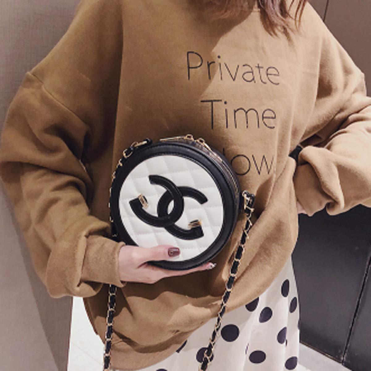 Khaki, 12 * 6 * 16.5cm Damen Tasche Mode rhombische Umh/ängetasche wilde Messenger Bag l/ässig PU kleine runde Tasche weibliche Kette Tasche