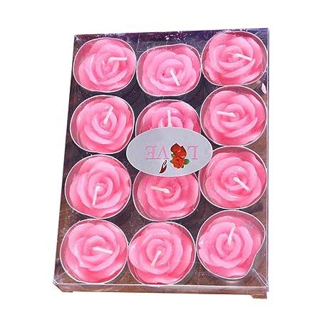 Amazon.com: Creaon - Juego de 12 velas con forma de rosa ...