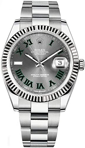 Amazon.com Rolex Datejust 41 Grey Dial with Green Roman