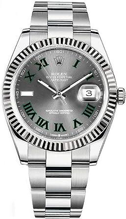 Amazon.com Rolex Datejust 41 Grey Dial with Green Roman