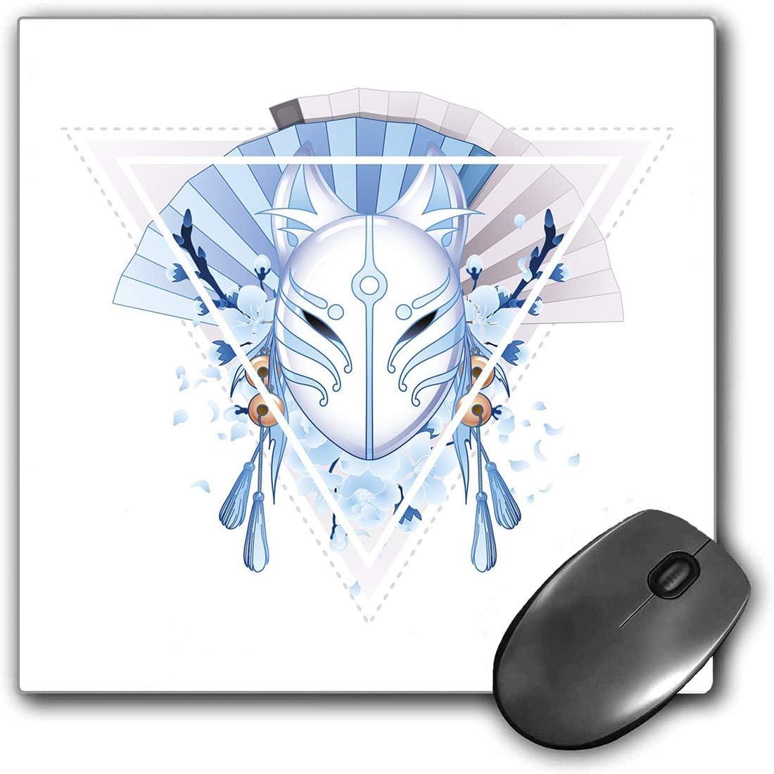 Mouse Pad Gaming Funcional Decoración de la máscara de Kabuki Alfombrilla de ratón gruesa impermeable para escritorio Máscara de zorro Kitsune Japón Cultura Triángulo Sakura Flores,Azul Claro Blanco B