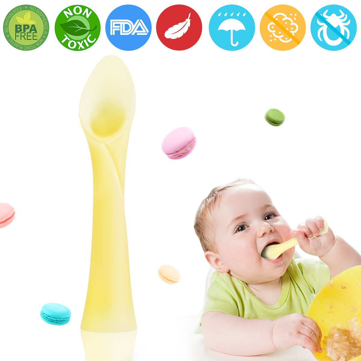 Baby Training Spoon, Soft Tip Silicone Self Feeding Spoon Teether Infant Spoon Baby Starter Spoon First Stage Led Weaning Spoon Toddler Spoon Baby Infant... by T Mall