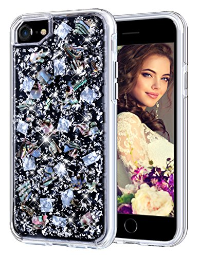 Coolden Case for iPhone 8 Case iPhone 7 Glitter Case with Shells Foil Cute Girly Durable Shockproof 2 Layers Solid PC TPU Cover Case for iPhone 6 6s 7 8, Silver Shell