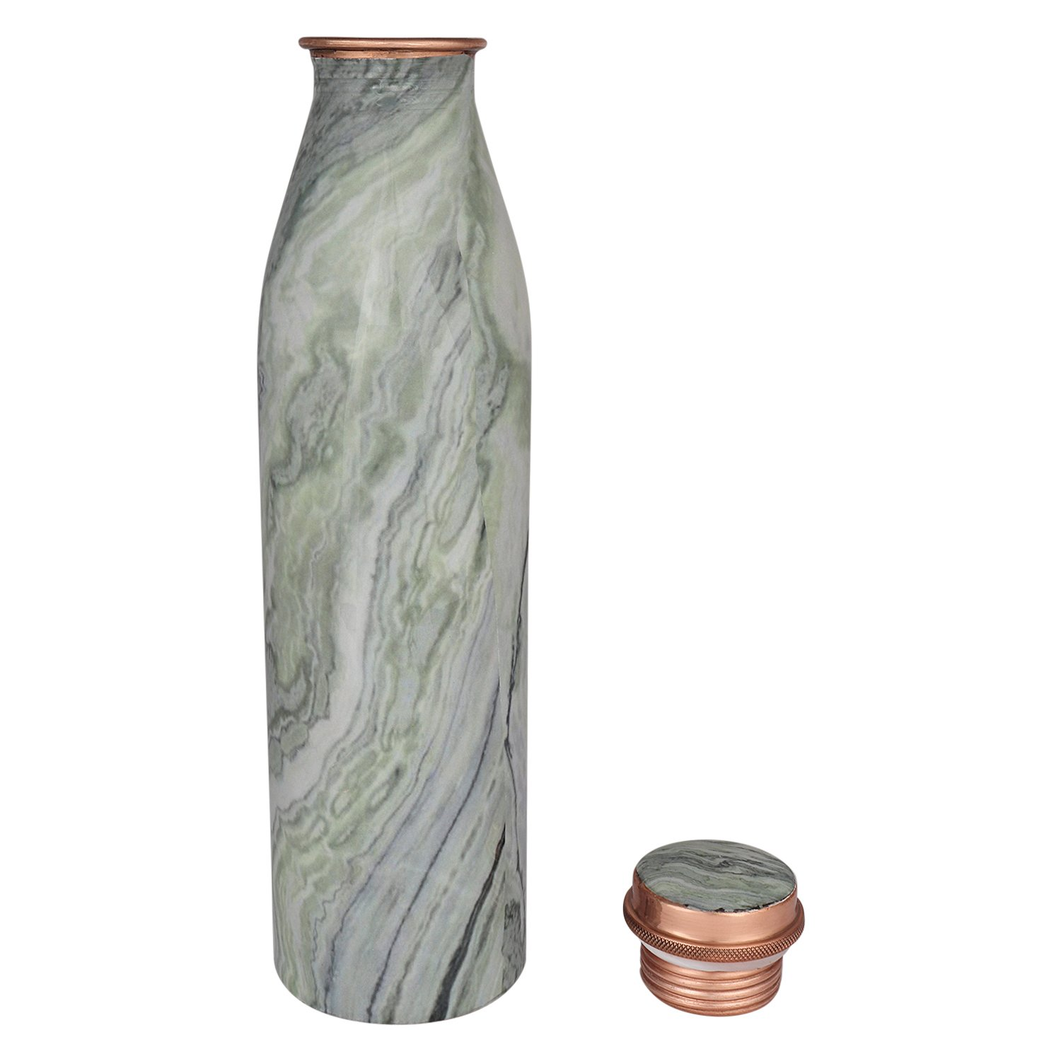 Zap Impex  Travellers 100/% Pure Copper Water Bottle With Marble Finish for Ayurvedic Benefits Joint Free Water Bottle