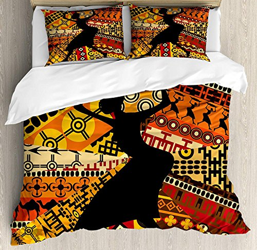 African Woman Twin Bedding Duvet Cover Set 4 Piece, Luxury Microfiber Comforter Cover, Bed Sheet and Decorative Shams, Silhouette of a Indigenous Woman Carrying a Basket on Traditional Patterns ()