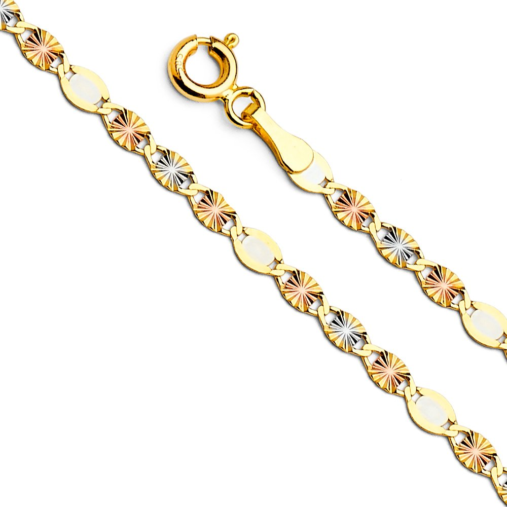 14k Tri Color Gold Solid 3mm Flat Valentino Star Diamond Cut Chain Necklace with Spring Ring Clasp - 18''