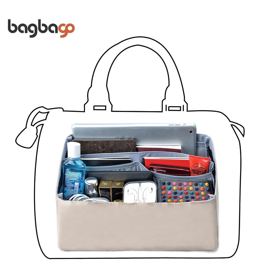 BES CHAN Womens Purse Handbag Bag Organizer Insert with Handles,Medium,Large (Large, Khaki)