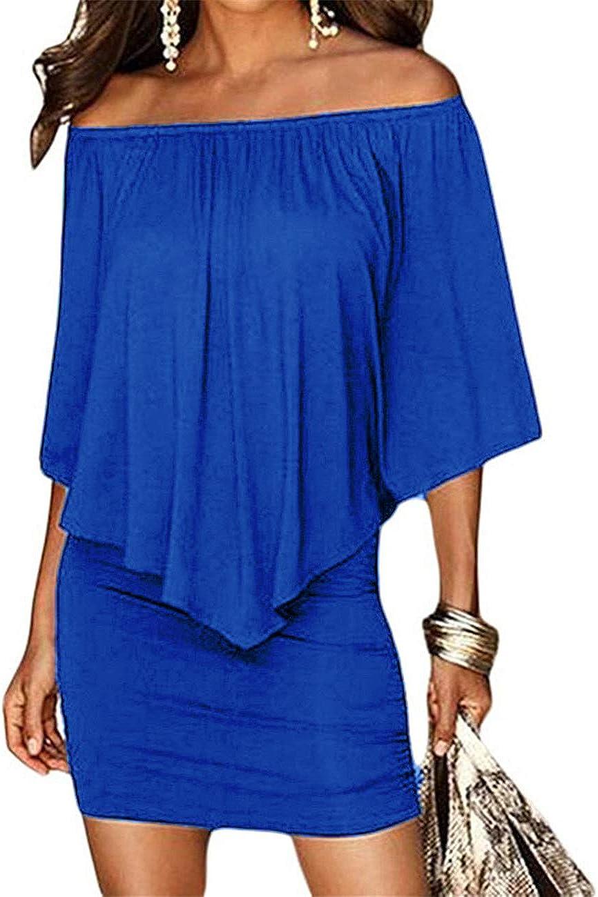 Haola Womens Summer Cold Shoulder Off Ruffles Bodycon Mini Dress