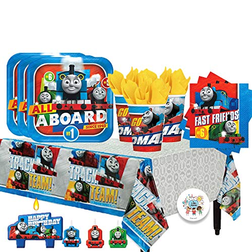 Another Dream Thomas The Train Birthday Party Pack for 16 with Plates, Napkins, Cups, Tablecover, Candles, and Exclusive Birthday Pin]()