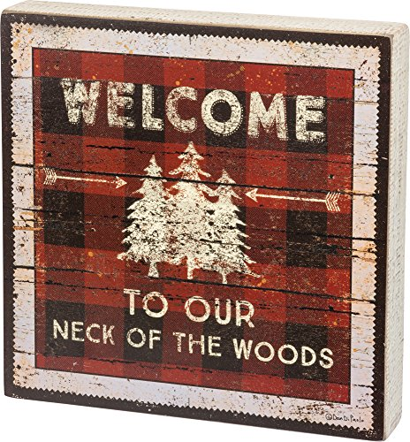 Cheap Primitives by Kathy Rustic-Inspired Box Sign, Our Neck The Woods