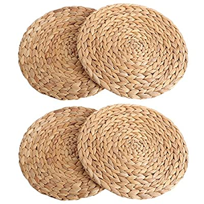 kilofly Natural Water Hyacinth Weave Placemat Round Braided Rattan Tablemats 11.8 inch x 4pc - Great Value - Includes 4 natural woven placemats Beautifully Handcrafted - Made of 100% natural water hyacinth Tough Woven Pattern - Can be reused on many different occasions like holidays, parties, daily dining and more - placemats, kitchen-dining-room-table-linens, kitchen-dining-room - 61AtNCO09kL. SS400  -