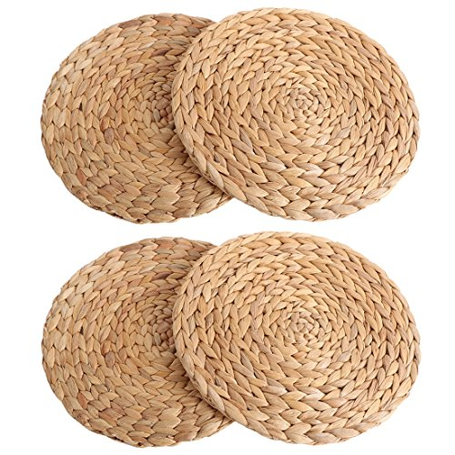 (kilofly 4pc Natural Water Hyacinth Weave Placemat Round Braided Rattan)