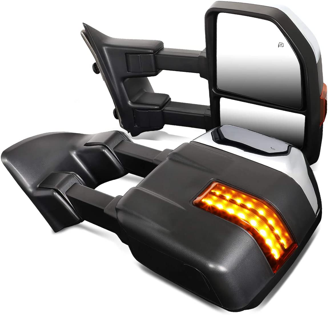 DNA Motoring TWM-054-T999-CH-AM Powered w//LED Turn Signal+Puddle Light Side Towing Mirror Replacement