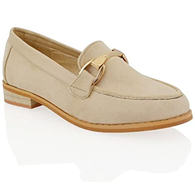 dc0a7fbb7b3 ESSEX GLAM New Womens Flat Slip On Buckle Pumps Ladies Casual Work Moccasin Loafers  Shoes  Amazon.co.uk  Shoes   Bags