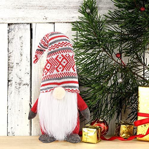 1Tomte Swedish Plush Santa Gnome, Handmade Scandinavian Tomte Santa Scandinavian Gnome for Christmas Santa Decoration Table Decor