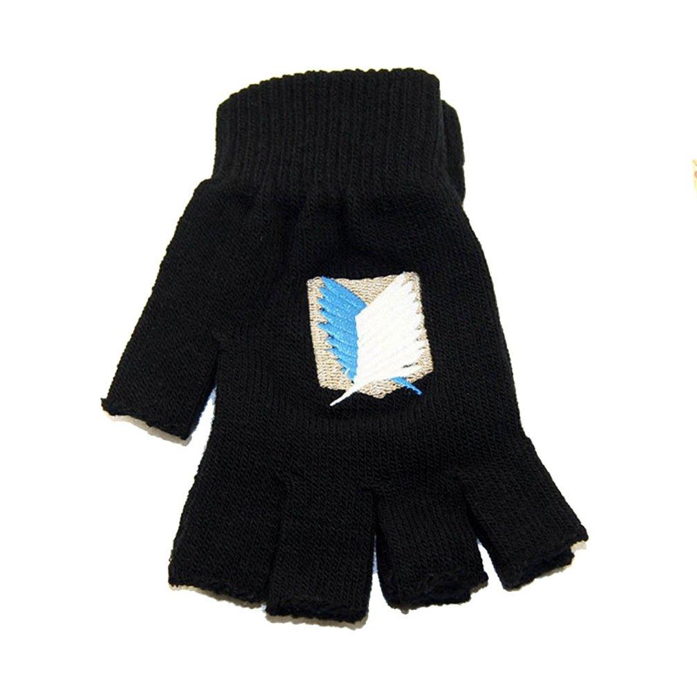 Gumstyle Anime Cosplay Winter Half Finger Fingerless Knitted Gloves