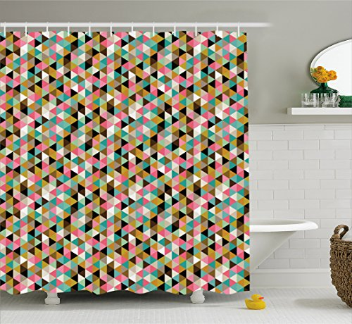 Ambesonne Geometric Shower Curtain by, Retro Vintage 50s 60s 70s Modern Colorful Dots with White Backdrop Art Print, Fabric Bathroom Decor Set with Hooks, 70 Inches, Multicolor
