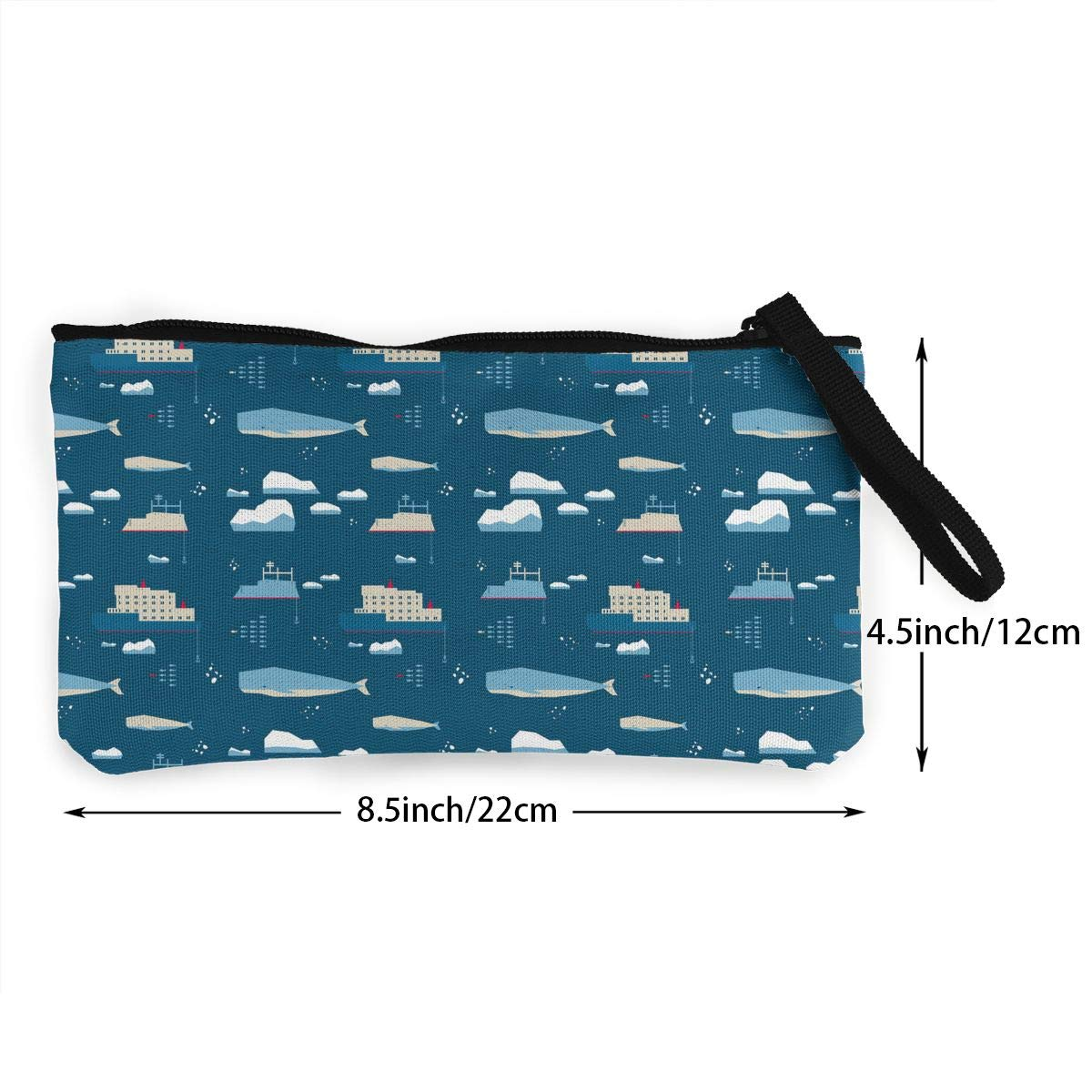 Girls Canvas Coin Purse Cellphone Clutch Purse With Wrist Strap Whale And Icebreaker Pattern Zipper Small Purse Wallets
