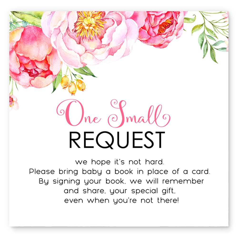 Mod Floral Bring a Book for Baby Invitation Insert Card Set of 25