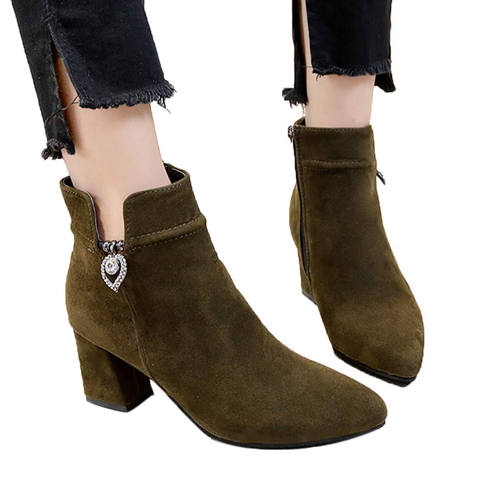 Boots For Women, HOT SALE !! Farjing Casual Martin Boots Ankle Boots High Heeled Shoes Zipper Boots(US:5,Army green)