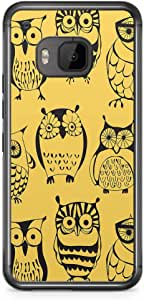 HTC One M9 Transparent Edge Phone Case Owl Phone Case Yellow Owl Pattern M9 Cover with Transparent Frame