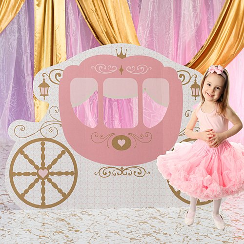 4 ft. 6 in. Pink Provincial Princess Fairytale Carriage Standee Standup Photo Booth Prop Background Backdrop Party Decoration Decor Scene Setter Cardboard Cutout