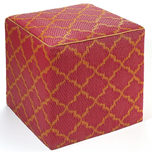 Fab Habitat Tangier Cube,  Pouf Orange Peel & Rouge Red (Seating Weather)