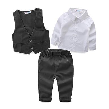 d122ead6e4362 LittleSpring フォーマル スーツ ベスト シャツ ズボン ベビー服 男の子 長袖 セットアップ 子供服 ボーイズ 結婚式 発表