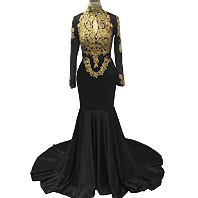 Fair Lady Sexy Mermaid Prom Dresses 2018 Backless Gold Lace Long Sleeves Evening Dresses Party Gowns