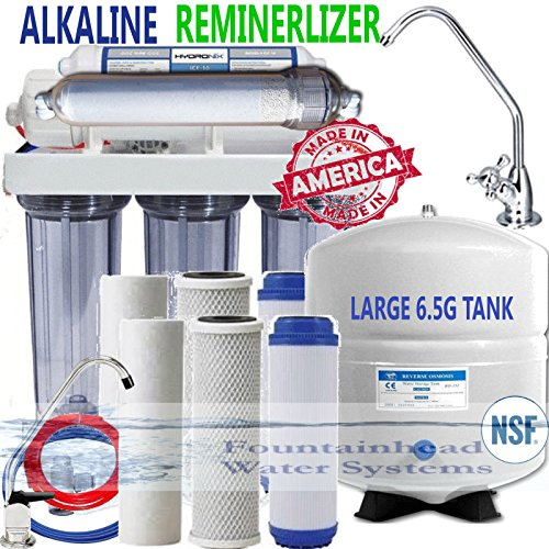 REVERSE OSMOSIS ALKALINE REMINERALIZER 100 GPD 6.5 Gal TANK CLEAR FAUCET CHOICE by Fountainhead Water System
