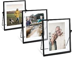AceList Set of 3| 4x6 Picture Frame Collection Black Metal Floating Frame for Wedding, Bedroom, Home, Office Decor