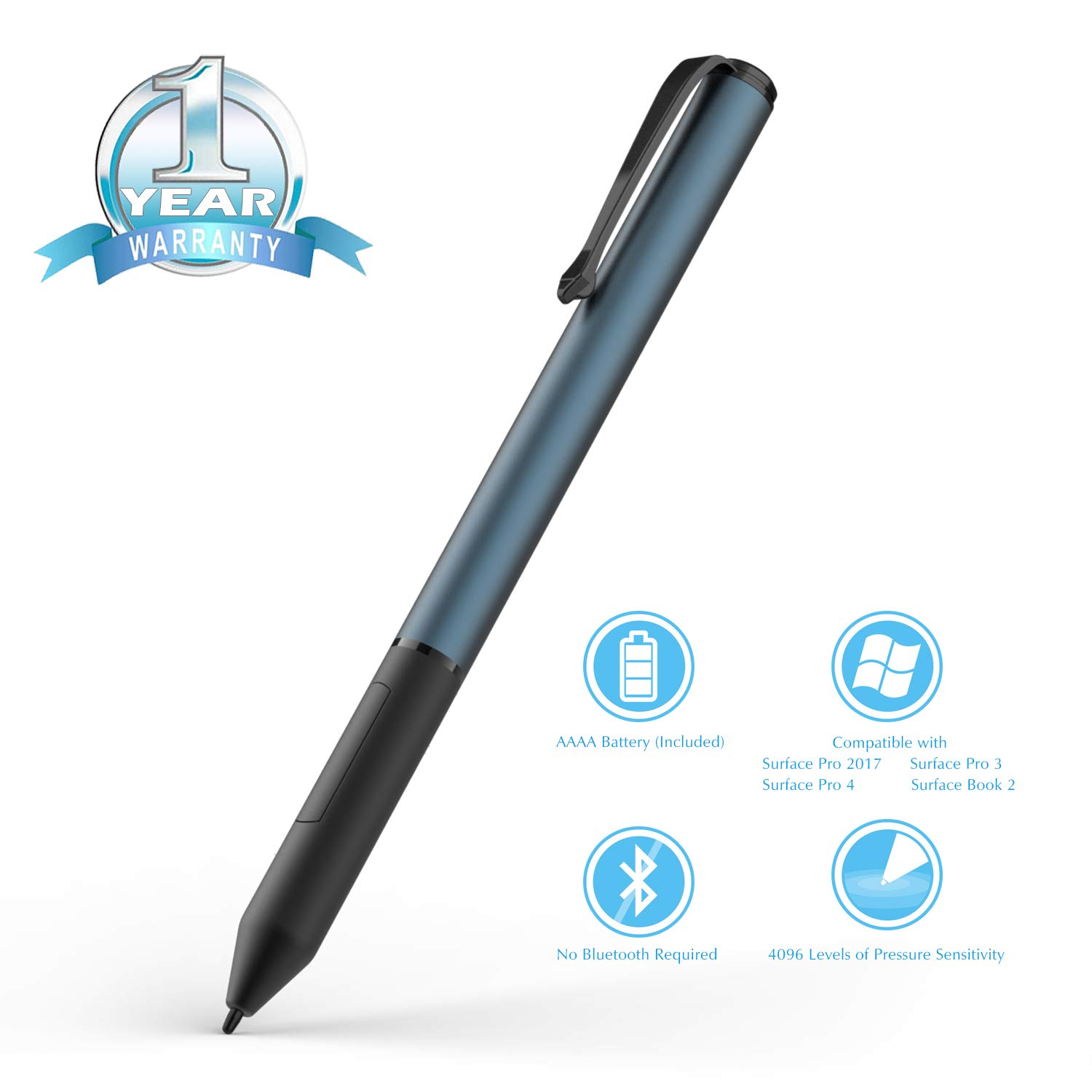 Surface Pen, Ciscle Active Surface Stylus Pen with Max 4096 Levels of Pressure Sensitivity, Right Click and Erase Buttons for Surface Pro(2017)/Pro 4/Pro 3, Surface 3/Book/Studio-Cobalt Blue