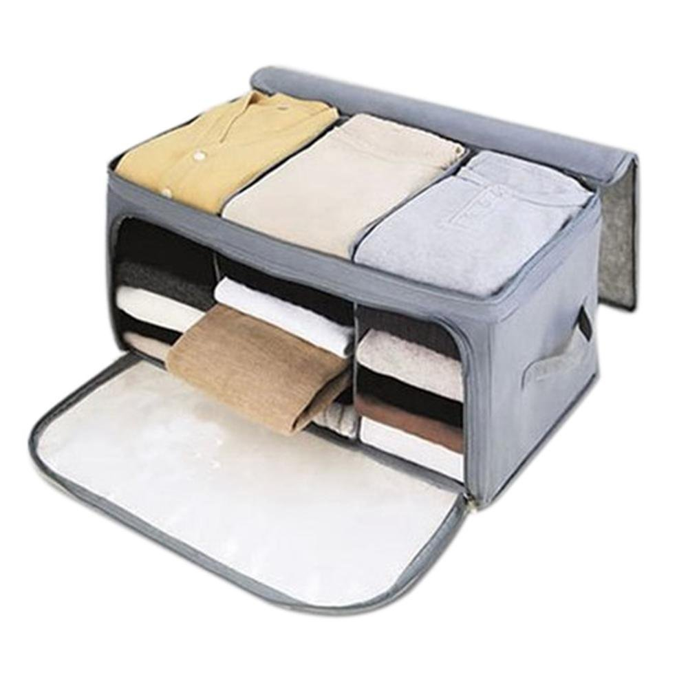 niceEshop(TM) Home Storage Bamboo Charcoal Fiber Clothing Organizer Bags Zipper Bag Case Container Organizers Container Box,Gray
