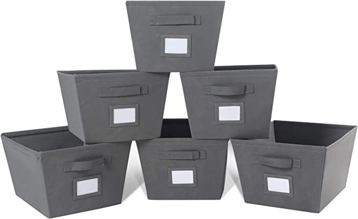 MAX Houser Fabric Cloth Storage Bins,Foldable Storage Cubes Organizer Baskets with Dual Handles for Home Bedroom Storage,Set of 6(Grey)