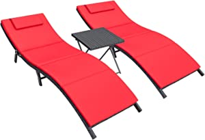 Homall 3 Pieces Patio Chaise Lounge Chair Sets Outdoor Beach Pool PE Rattan Reclining Chair with Folding Table and Cushion (Red)