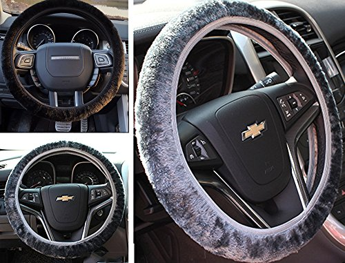 Black Leather Wrapped Snap (2pcs Car Steering Wheel Protection Cover, Soft Furry Fluffy Winter Warm Anti-slip Short Plush Vehicle Steering Wheel Wrap Gloves, Fit 35-40cm)