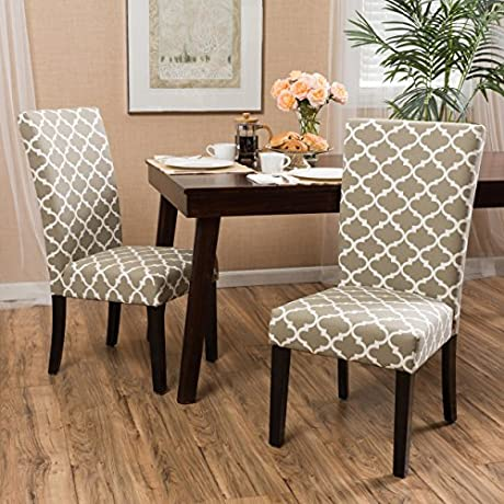 Raleigh Khaki Fabric Dining Chair Set Of Two 2
