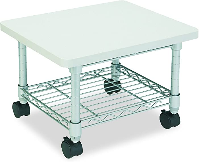Safco Products Under Desk Printer/Fax Stand 5206GR, Gray Powder Coat Finish, Swivel Wheels for Mobility