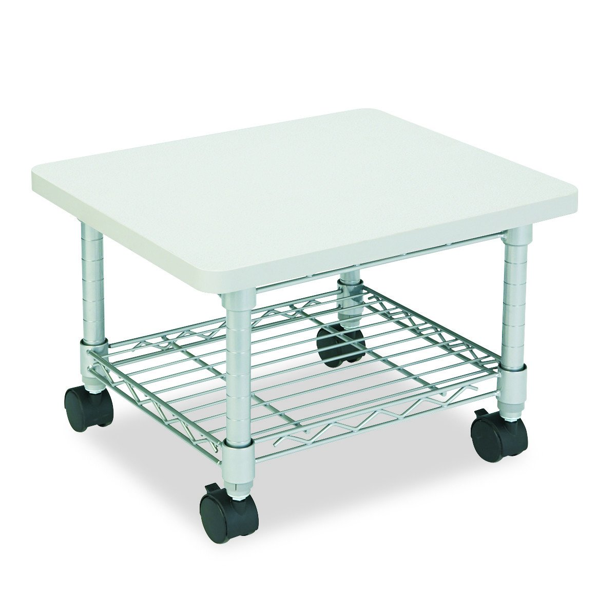 Safco Products Under Desk Printer/Fax Stand , Gray Powder Coat Finish, Swivel Wheels for Mobility by Safco