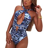 0a7621bc379 SJWIN Women One Piece Halter Wrap Fitness Sexy Snake Skin Pattern Print  Backless Swimsuit