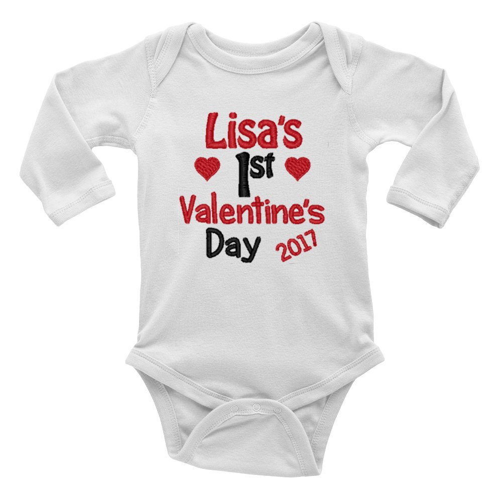 Personalised Embroidered with ANY NAME Heart 1st Valentine's Day Baby Bodysuit Vest
